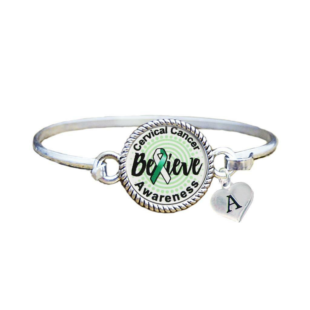 Primary image for Custom Cervical Cancer Awareness Believe Silver Bracelet Jewelry Choose Initial