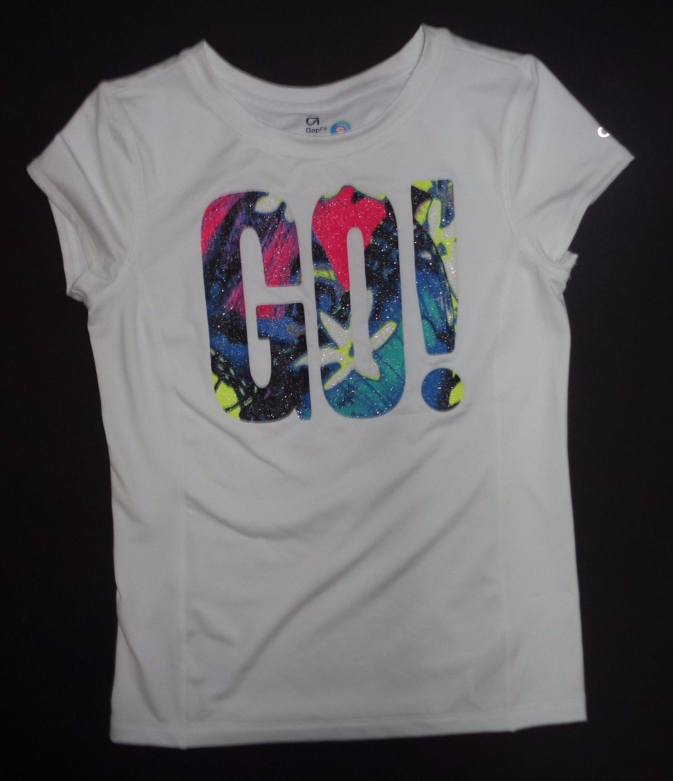 GAP Fit Dry White Multi-color GO! T-Shirt Sz XXL NWOT image 2
