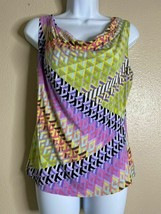 Calvin Klein Womens Size M Petite Multicolor Geometric Pattern Top Sleev... - $13.86
