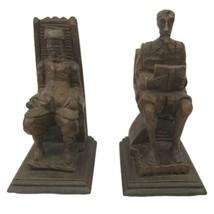 Bookends Don Quizote Sancho Panza La Mancha wood carved vintage Spain Ce... - $29.99
