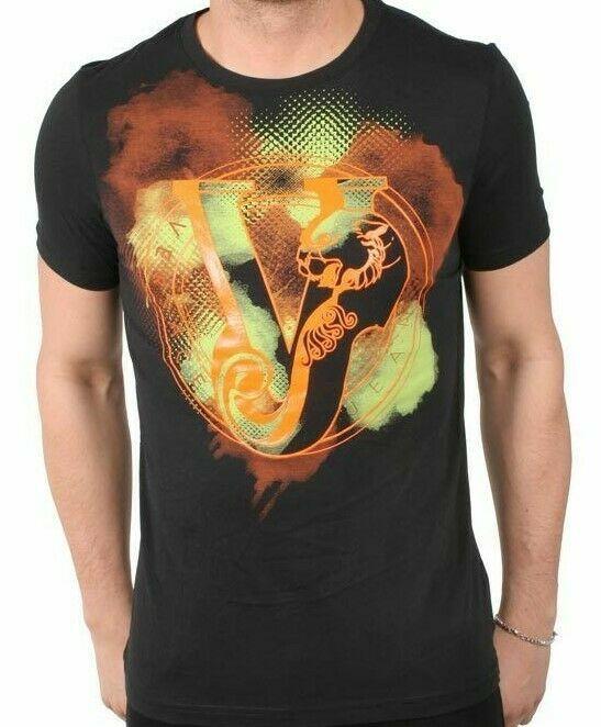 Versace Jeans Big V Orange Print Men's Graphic Tee Size 56 2XL NWT