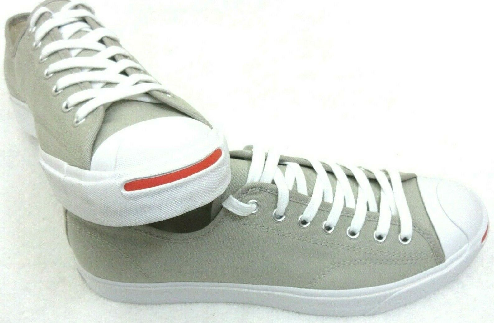 Converse Mens Jack Purcell OX Canvas Birch Bark White Habanero Red Shoes 10.5 image 3