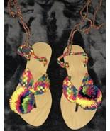 wayuu Kids Thong sandals Flat Handmade Pom Pom Size 30 Gladiator - $20.00