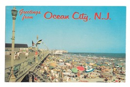 Greetings from Ocean City NJ Beach and Boardwalk Vintage Postcard Jack F... - $4.99