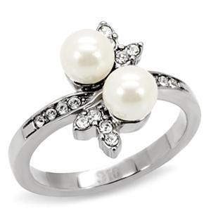 Primary image for Stainless Steel Synthetic Pearl Cocktail Ring Sz 7