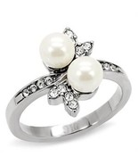 Stainless Steel Synthetic Pearl Cocktail Ring Sz 7 - $27.99
