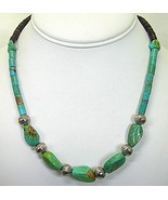 Old Royston Turquoise Polished Nuggets with Tiger-Eye Heishi Strand Vint... - $243.00