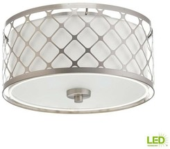 Flush Mount 11 in. 17-Watt Integrated LED Dimmable Brushed Nickel Fixture - $148.05