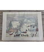 "Vintage Print Grandma Moses ""A Frosty Day"" Art in America USA 12 x 18 Image - $24.00"