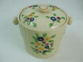 Vintage Beige Ceramic Pottery Biscuit Cookie Jar Lid Handles Flowers Japan - $24.70