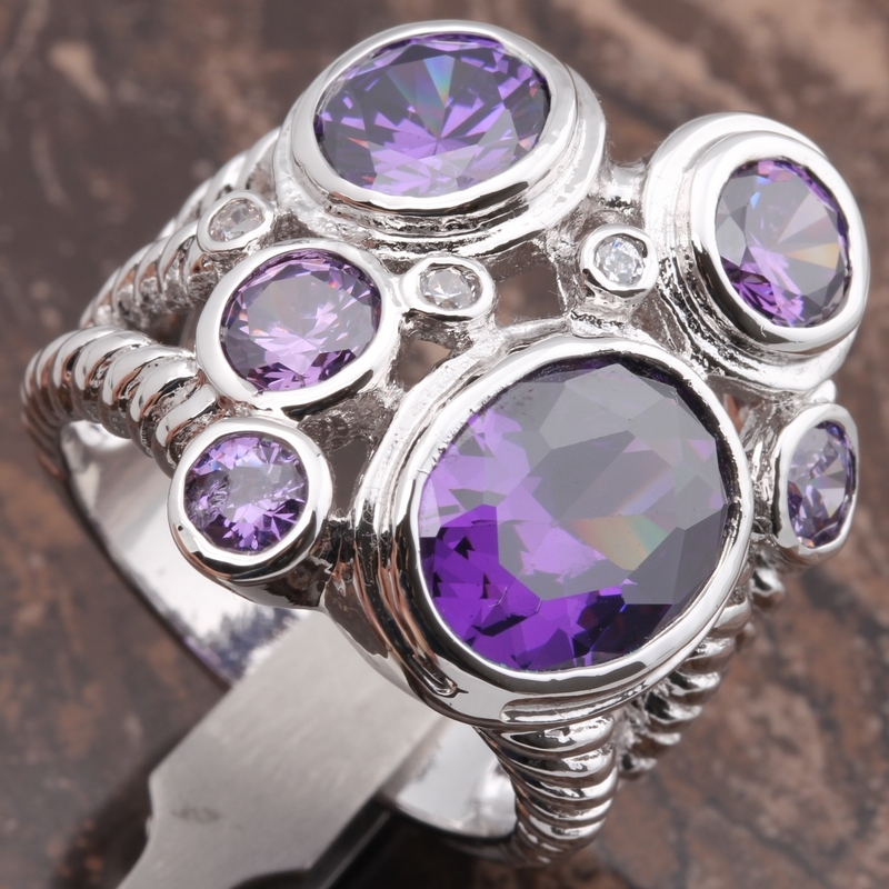 Primary image for Purple Amethyst 11*13mm Gemstones 18K Gold Filled Fashion Rings Size 7.5