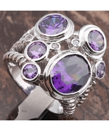 Purple Amethyst 11*13mm Gemstones 18K Gold Filled Fashion Rings Size 7.5 - $27.99