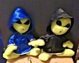 "2 Vintage Nanco Hooded Alien 10"" Plush 1996 - 1 Boy and 1 Girl - $34.71"