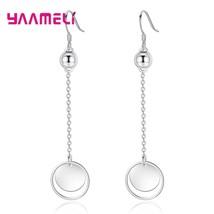 Korean Fashion Long Circle Hoop&Srebrne Beads New Chain 925 Sterling Silver Drop - $7.92