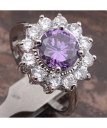 Purple Amethyst 7*7mm Gemstones 18K Gold Filled Fashion Jewelry Rings Si... - $27.99