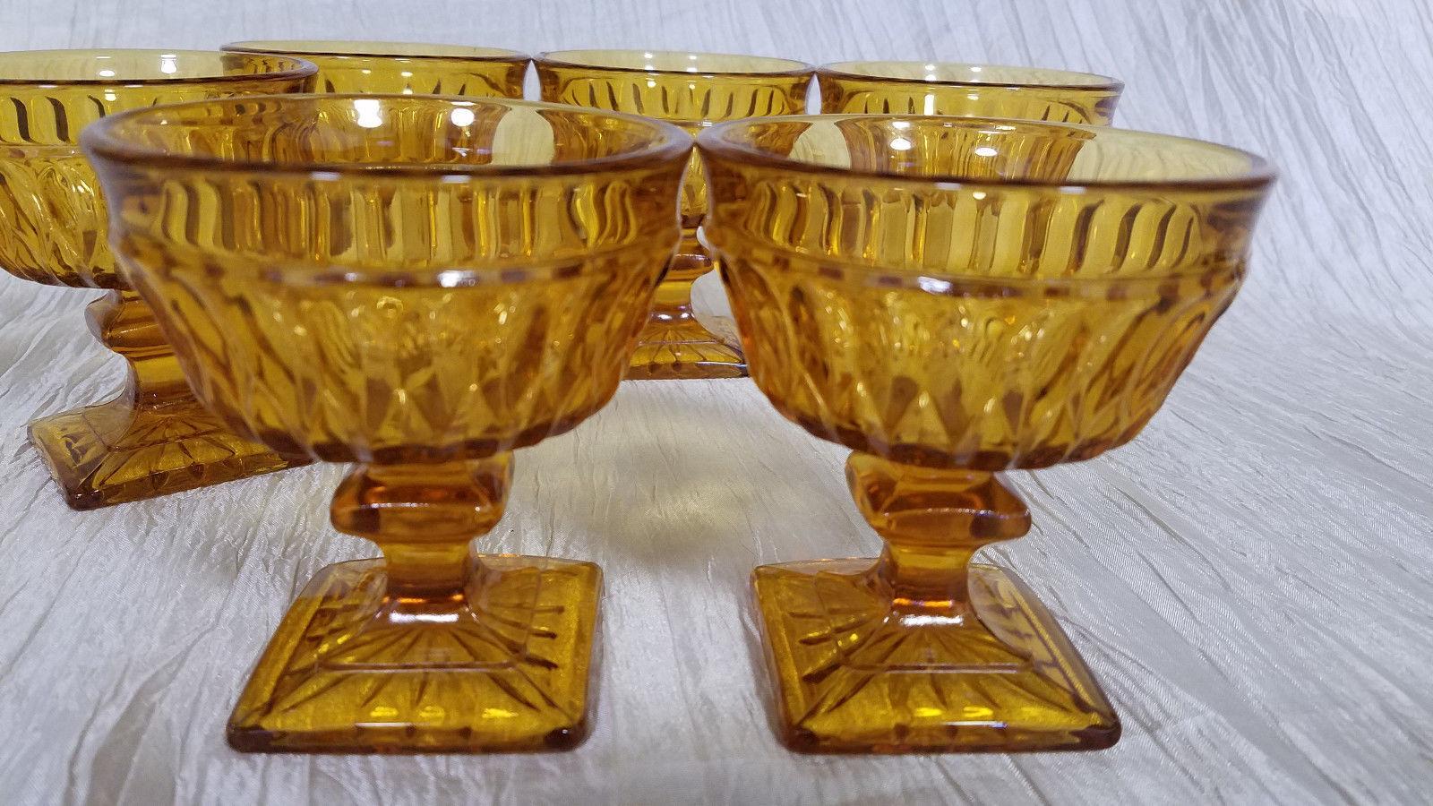 Vtg Indiana Glass Mt. Vernon Amber Champagne/Tall Sherbet Glass, Set of 6
