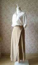 Summer Khaki Linen Pants Wide Leg LINEN Cotton PANTS Women Wrap Palazzo Pants image 2