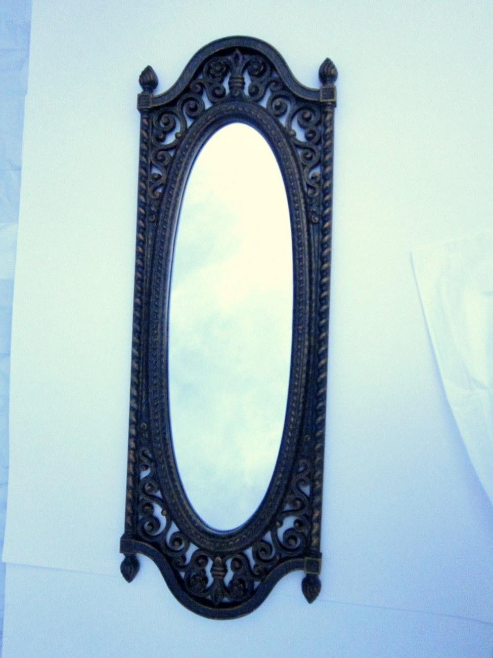 Framed mirror 1973 homco long oval ornate antique style for Long framed mirror