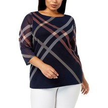 Charter Club NEW  Top BlouseBlue Size 3X Plus Mesh Illusion Stripe LL138 - $29.07