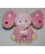 "ELEPHANT Pink Plush BABY RATTLE 6"" Stuffed Soft Toy Animal Polka Dot Ear... - $13.52"