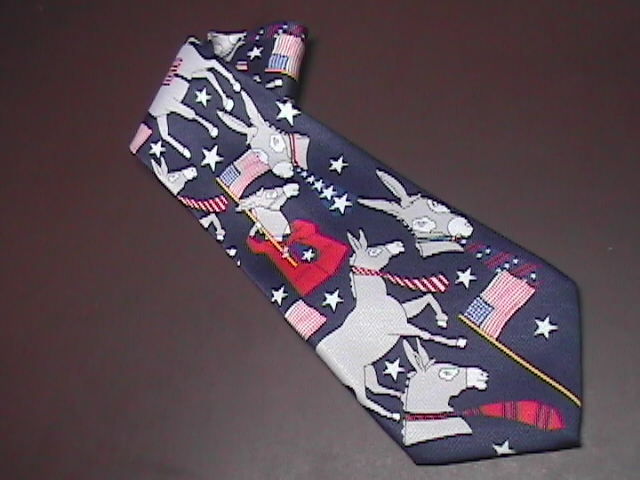A Rogers Neck Tie Red White and Blue with Democratic Donkeys and American Flags A. Rogers