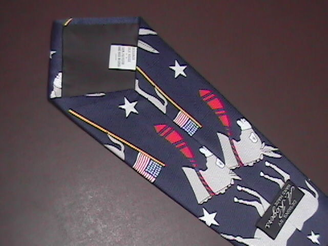 A Rogers Neck Tie Red White and Blue with Democratic Donkeys and American Flags