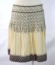Nwt Ann Taylor Loft Ivory Brown Moroccan Print Pleated A Line Skirt Petite 8 - $24.74