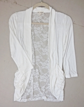 Ivory Lace Back Cardigan, Open Front Rayon Cardigan, Ivory Rayon Sweater