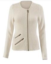 CAbi Roadster Cardigan Sweater Sz M Medium Moto Zip #203 Lng Sleeve Stra... - $19.79