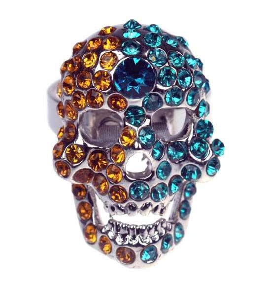 Primary image for Yellow Green Crystal Silver Skull Bone Adjustable Mans Ring- free shipping