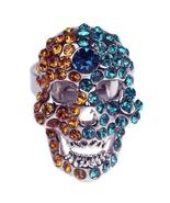 Yellow Green Crystal Silver Skull Bone Adjustable Mans Ring- free shipping - $17.99