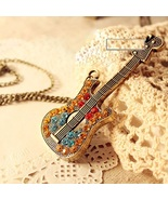 Colorful Blink Guitar Pendant Long Necklace - Free Shipping! - $12.45
