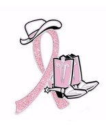 Breast Cancer Lapel Pin Pink Glitter Ribbon Awa... - $10.97