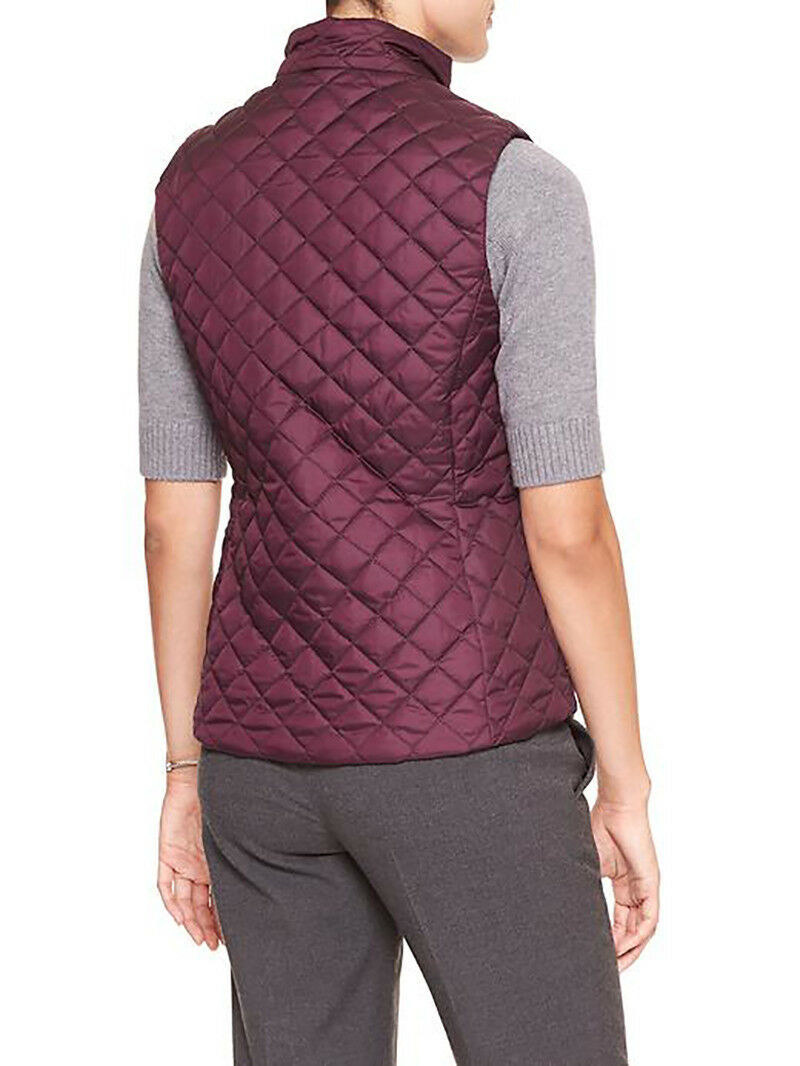7199-2 Banana Republic Womens Quilted Vest Elderberry Large $79.99 image 2