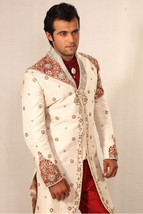 Amazing Off White Brocade Designer Sherwani1044 - $340.71