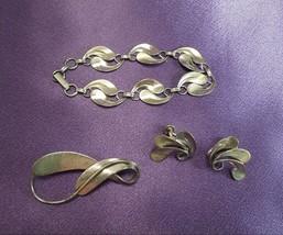 Beau 1940's Sterling Silver Lot- Screw Back Earrings, Bracelet & Brooch - $66.83