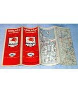 Vintage ca 1950 Mobilgas Socony Vacuum Oil Co Chicago Road Map Service S... - $9.95