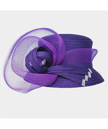 Ginga's Galleria Purple Bow Accented Flower Dressy Derby Hat - $43.50