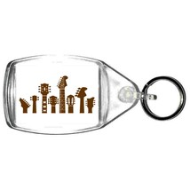 keyring double sided guitar heads design in brown, keychain copyright design
