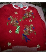 Womens Reindeer Christmas Sweater Cardigan SZ Med Carly St. Claire Red NEW - $28.00
