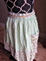 Great gift for her, vintage apron seafoam green with print detail, half ... - $5.89