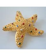 Vintage Gold Starfish Brooch Pin Multi Color Rhinestones - $19.79