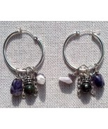 Amethyst Jasper Hoop Earrings Handmade In USA February March Pisces Birt... - $39.99