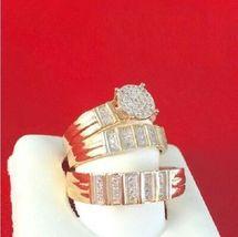 14K Yellow Gold Over Diamond Trio Ring Set Wedding Bridal Band Engagemen... - $167.97