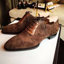 Handmade Men's Brown Lace Up Dress/Formal Suede Oxford Shoes image 4