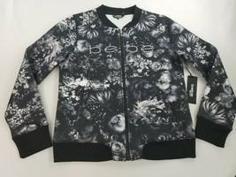 new BEBE Sport women jacket sweatshirt black white floral sz M $109 - $39.59