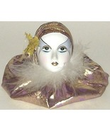 Porcelain Show Girl Head Gold Fabric - $8.00
