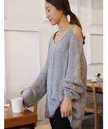 Grey Off The Shoulder Chunky Knitted Sweater. C... - $96.90