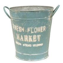 Vintage Fresh Flower Market Blue Bucket - $39.99