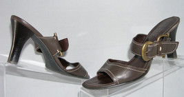 "Franco Sarto Clint leather brown open toe sandals buckle 8M 3.5"" stacked heel - $9.31"